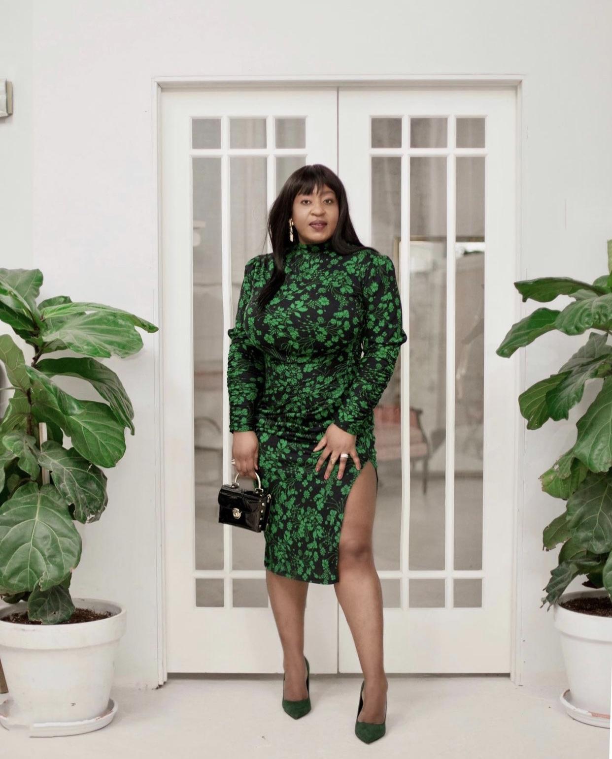 Green-floral-prints-target-midi-dress-hypnoz